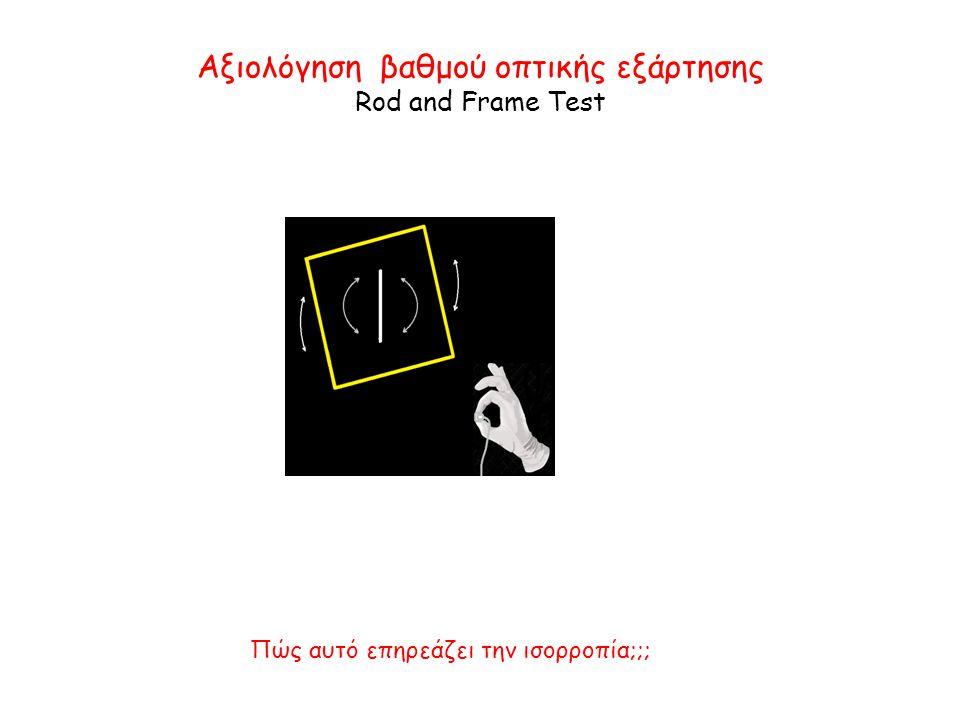 Αξιολόγηση βαθμού οπτικής εξάρτησης Rod and Frame Test Πώς αυτό επηρεάζει την ισορροπία;;;