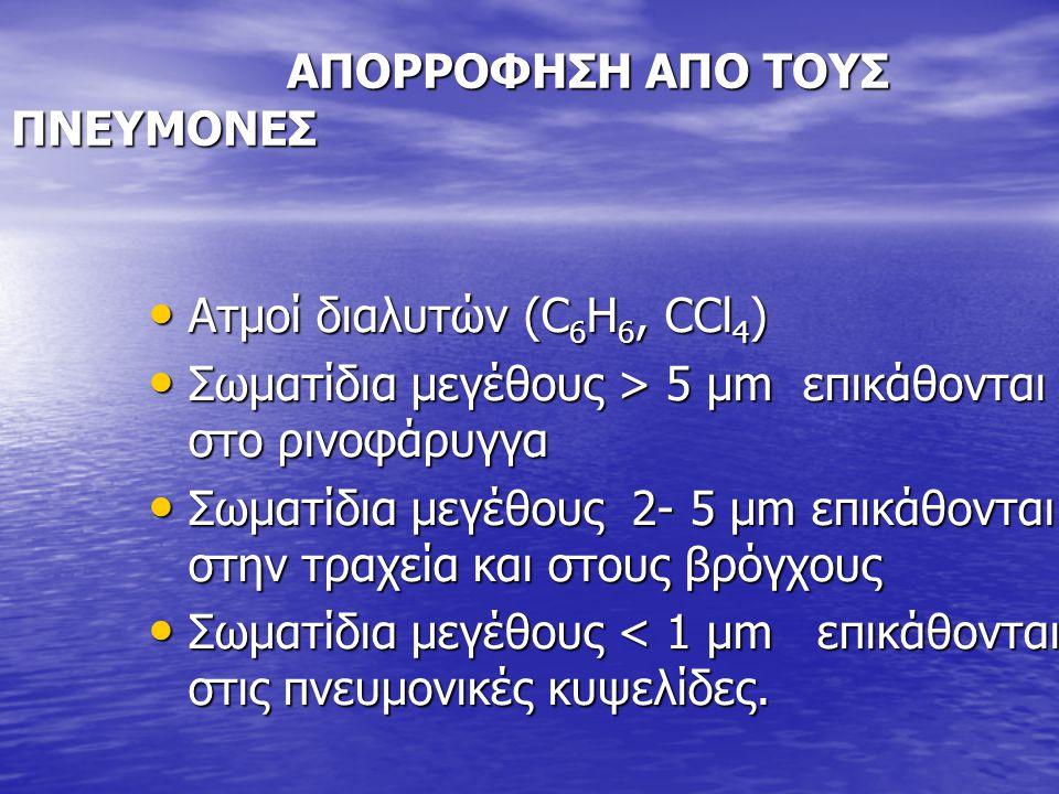 ΑΠΟΡΡΟΦΗΣΗ ΑΠΟ ΤΟΥΣ ΠΝΕΥΜΟΝΕΣ ΑΠΟΡΡΟΦΗΣΗ ΑΠΟ ΤΟΥΣ ΠΝΕΥΜΟΝΕΣ Ατμοί διαλυτών (C 6 H 6, CCl 4 ) Ατμοί διαλυτών (C 6 H 6, CCl 4 ) Σωματίδια μεγέθους > 5 μ