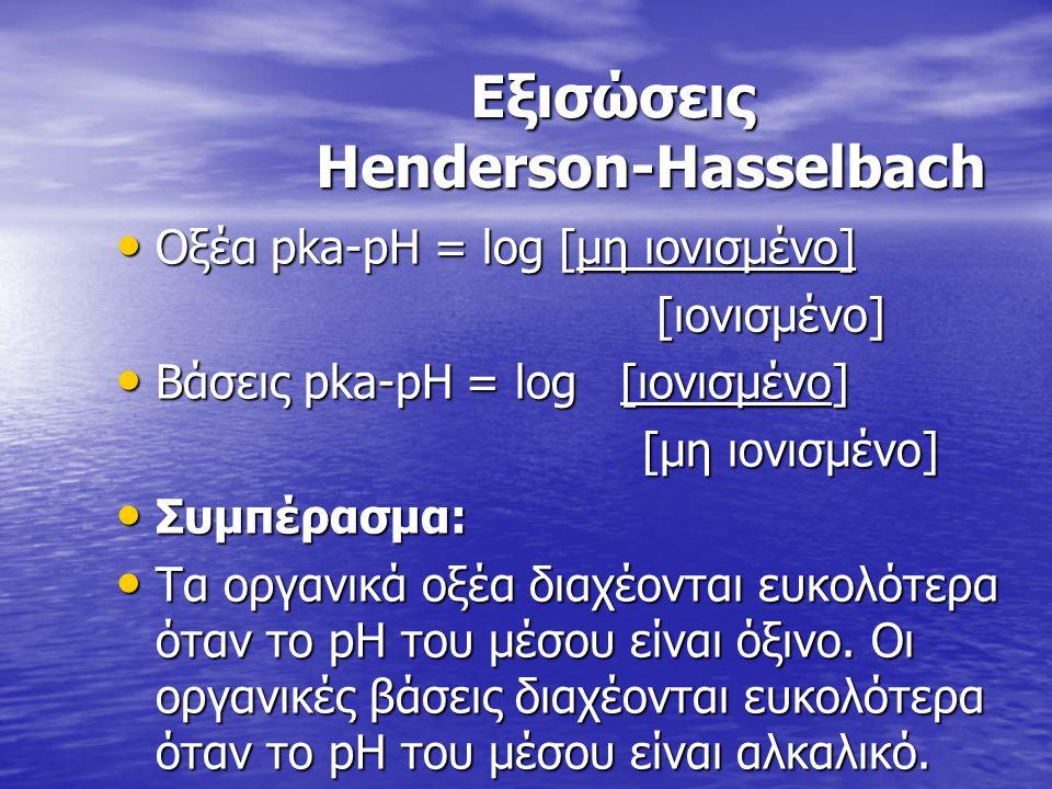 Εξισώσεις Henderson-Hasselbach Εξισώσεις Henderson-Hasselbach Οξέα pka-pH = log [μη ιονισμένο] Οξέα pka-pH = log [μη ιονισμένο] [ιονισμένο] [ιονισμένο