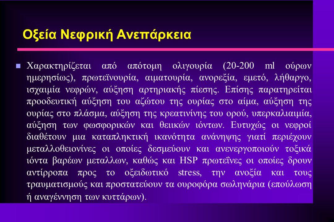 n Χαρακτηρίζεται από απότομη ολιγουρία (20-200 ml ούρων ημερησίως), πρωτεϊνουρία, αιματουρία, ανορεξία, εμετό, λήθαργο, ισχαιμία νεφρών, αύξηση αρτηρι