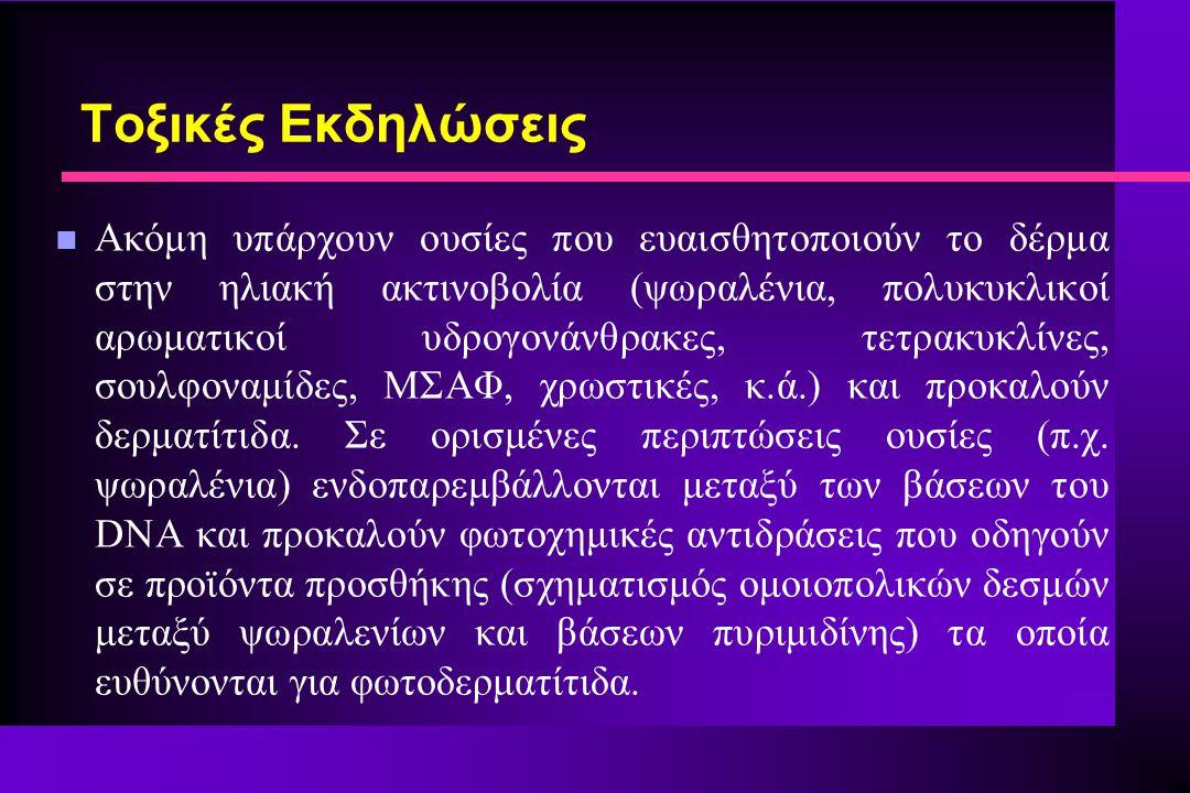 n Ακόμη υπάρχουν ουσίες που ευαισθητοποιούν το δέρμα στην ηλιακή ακτινοβολία (ψωραλένια, πολυκυκλικοί αρωματικοί υδρογονάνθρακες, τετρακυκλίνες, σουλφοναμίδες, ΜΣΑΦ, χρωστικές, κ.ά.) και προκαλούν δερματίτιδα.