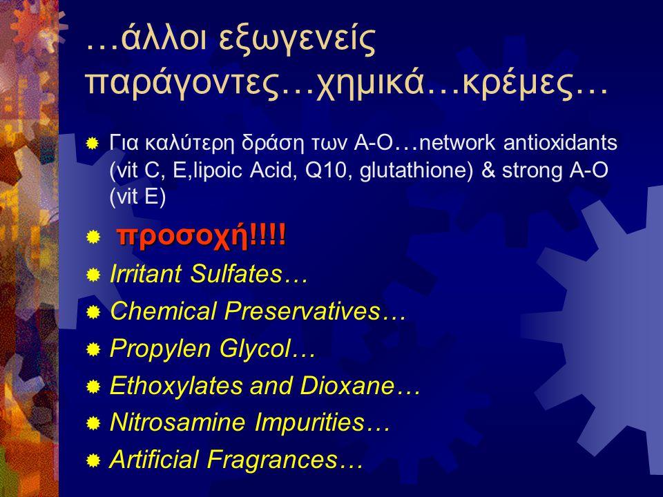 …άλλοι εξωγενείς παράγοντες…χημικά…κρέμες…  Για καλύτερη δράση των Α-Ο … network antioxidants (vit C, E,lipoic Acid, Q10, glutathione) & strong A-O (