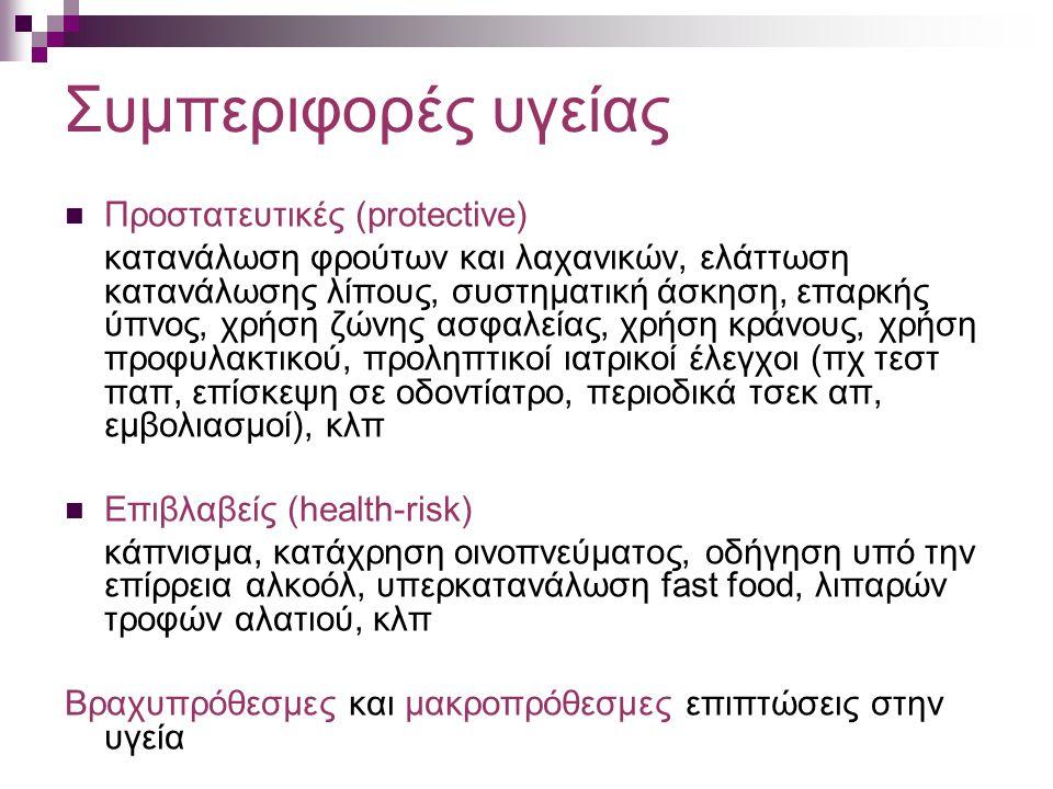 Συμπεριφορές υγείας Προστατευτικές (protective) κατανάλωση φρούτων και λαχανικών, ελάττωση κατανάλωσης λίπους, συστηματική άσκηση, επαρκής ύπνος, χρήσ