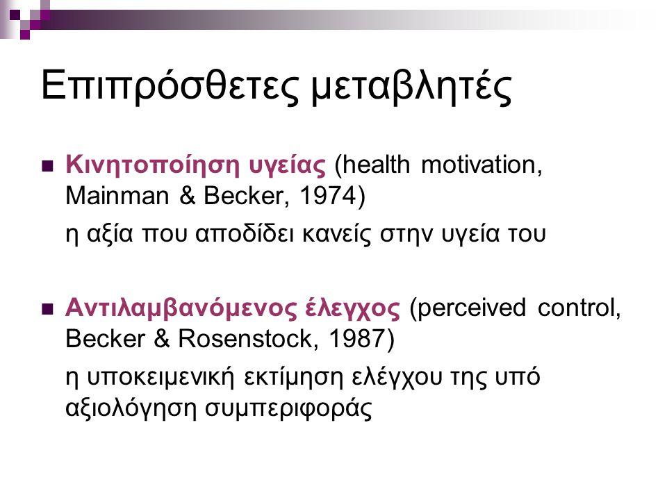 Επιπρόσθετες μεταβλητές Κινητοποίηση υγείας (health motivation, Mainman & Becker, 1974) η αξία που αποδίδει κανείς στην υγεία του Αντιλαμβανόμενος έλε