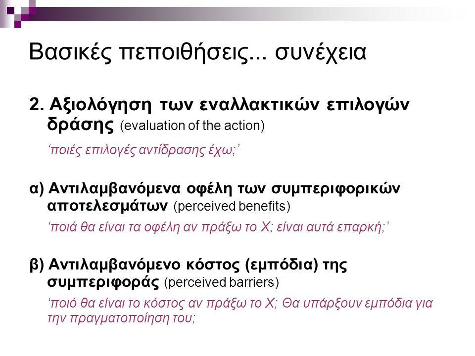 Βασικές πεποιθήσεις... συνέχεια 2. Αξιολόγηση των εναλλακτικών επιλογών δράσης (evaluation of the action) 'ποιές επιλογές αντίδρασης έχω;' α) Αντιλαμβ