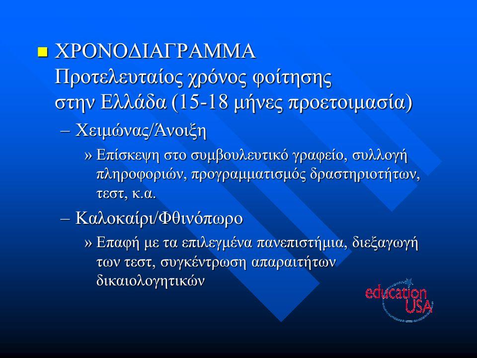ΧΡΟΝΟΔΙΑΓΡΑΜΜΑ ΧΡΟΝΟΔΙΑΓΡΑΜΜΑ Προτελευταίος χρόνος φοίτησης στην Ελλάδα (15-18 μήνες προετοιμασία) –Χειμώνας/Άνοιξη »Επίσκεψη στο συμβουλευτικό γραφείο, συλλογή πληροφοριών, προγραμματισμός δραστηριοτήτων, τεστ, κ.α.