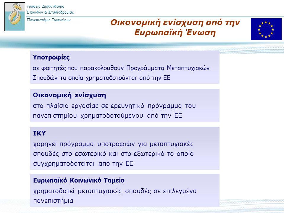 Οικονομική ενίσχυση από την Ευρωπαϊκή Ένωση Γραφείο Διασύνδεσης Σπουδών & Σταδιοδρομίας Πανεπιστήμιο Ιωαννίνων Υποτροφίες σε φοιτητές που παρακολουθού