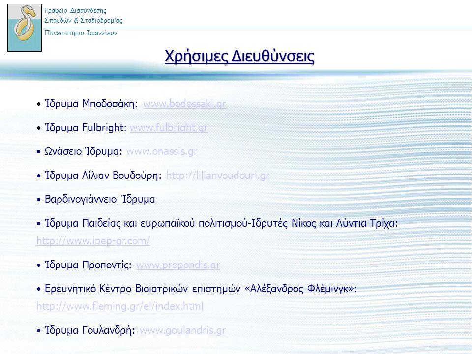 Χρήσιμες Διευθύνσεις Ίδρυμα Μποδοσάκη: www.bodossaki.grwww.bodossaki.gr Ίδρυμα Fulbright: www.fulbright.grwww.fulbright.gr Ωνάσειο Ίδρυμα: www.onassis