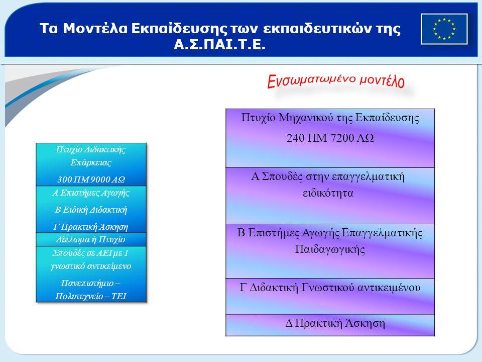 Τα Μοντέλα Εκπαίδευσης των εκπαιδευτικών της Α.Σ.ΠΑΙ.Τ.Ε.