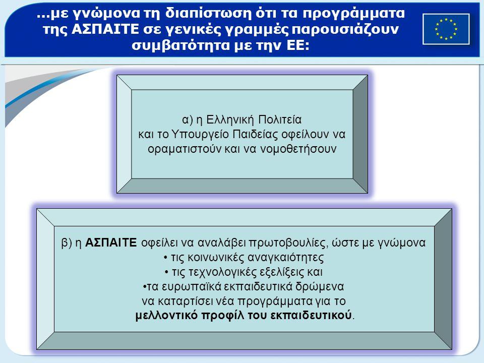 …με γνώμονα τη διαπίστωση ότι τα προγράμματα της ΑΣΠΑΙΤΕ σε γενικές γραμμές παρουσιάζουν συμβατότητα με την ΕΕ: α) η Ελληνική Πολιτεία και το Υπουργείο Παιδείας οφείλουν να οραματιστούν και να νομοθετήσουν β) η ΑΣΠΑΙΤΕ οφείλει να αναλάβει πρωτοβουλίες, ώστε με γνώμονα τις κοινωνικές αναγκαιότητες τις τεχνολογικές εξελίξεις και τα ευρωπαϊκά εκπαιδευτικά δρώμενα να καταρτίσει νέα προγράμματα για το μελλοντικό προφίλ του εκπαιδευτικού.