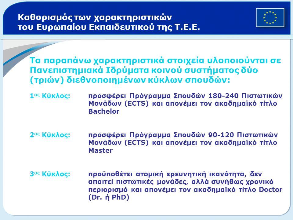 Τα παραπάνω χαρακτηριστικά στοιχεία υλοποιούνται σε Πανεπιστημιακά Ιδρύματα κοινού συστήματος δύο (τριών) διεθνοποιημένων κύκλων σπουδών: 1 ος Κύκλος: προσφέρει Πρόγραμμα Σπουδών 180-240 Πιστωτικών Μονάδων (ECTS) και απονέμει τον ακαδημαϊκό τίτλο Bachelor 2 ος Κύκλος: προσφέρει Πρόγραμμα Σπουδών 90-120 Πιστωτικών Μονάδων (ECTS) και απονέμει τον ακαδημαϊκό τίτλο Master 3 ος Κύκλος:προϋποθέτει ατομική ερευνητική ικανότητα, δεν απαιτεί πιστωτικές μονάδες, αλλά συνήθως χρονικό περιορισμό και απονέμει τον ακαδημαϊκό τίτλο Doctor (Dr.