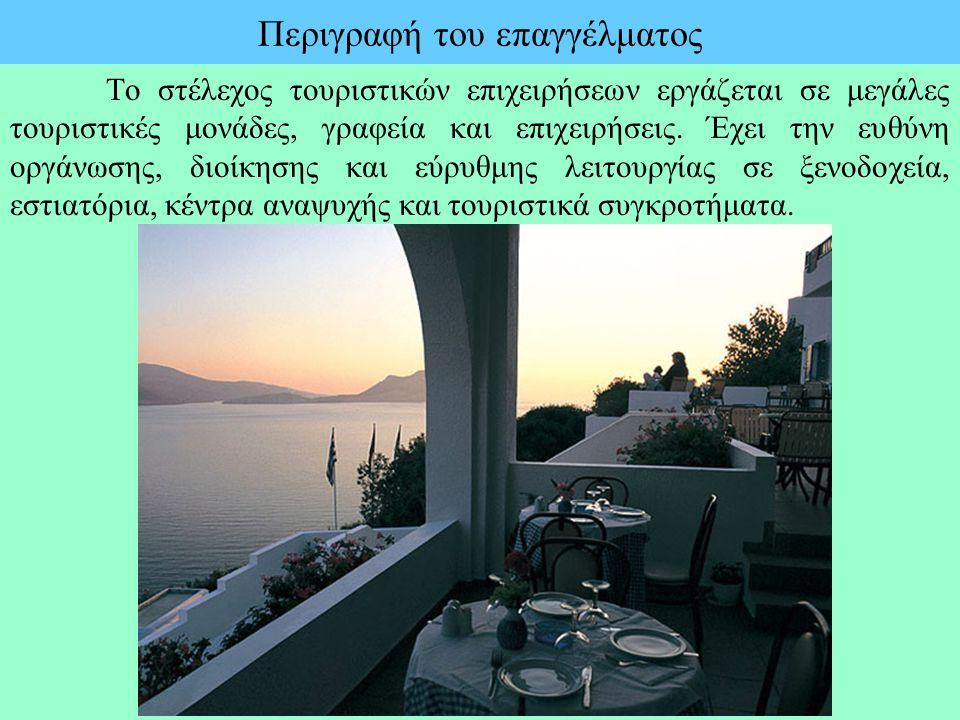 Περιγραφή του επαγγέλματος Το στέλεχος τουριστικών επιχειρήσεων εργάζεται σε μεγάλες τουριστικές μονάδες, γραφεία και επιχειρήσεις. Έχει την ευθύνη ορ