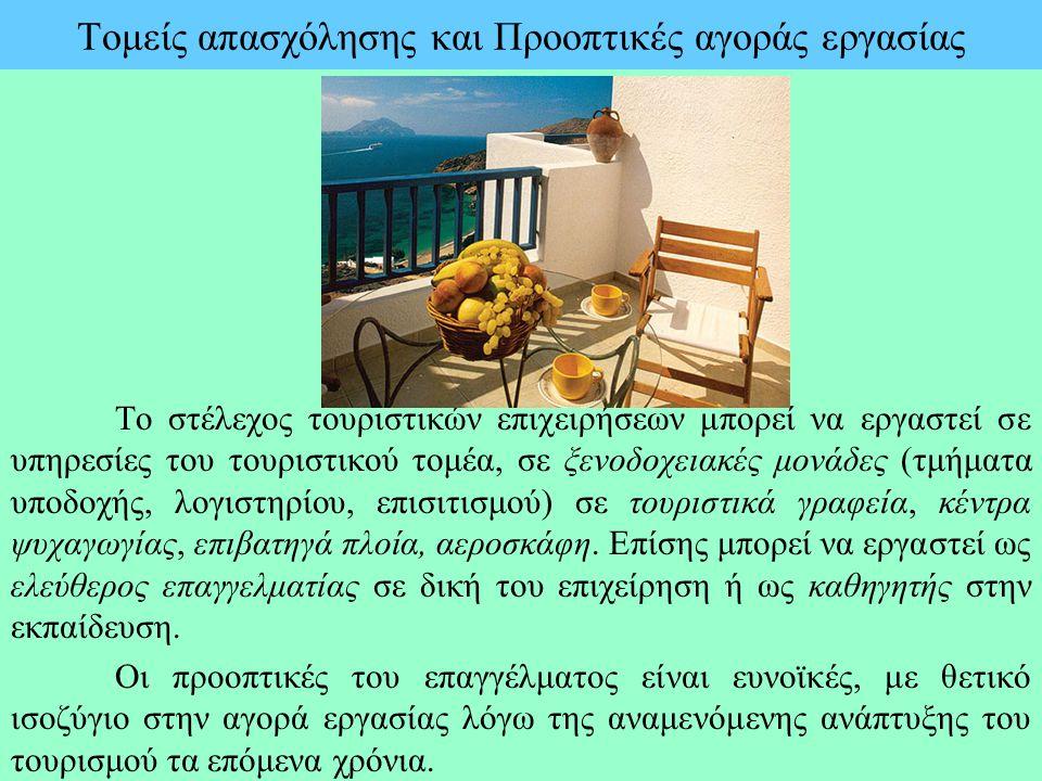 Τομείς απασχόλησης και Προοπτικές αγοράς εργασίας Το στέλεχος τουριστικών επιχειρήσεων μπορεί να εργαστεί σε υπηρεσίες του τουριστικού τομέα, σε ξενοδ