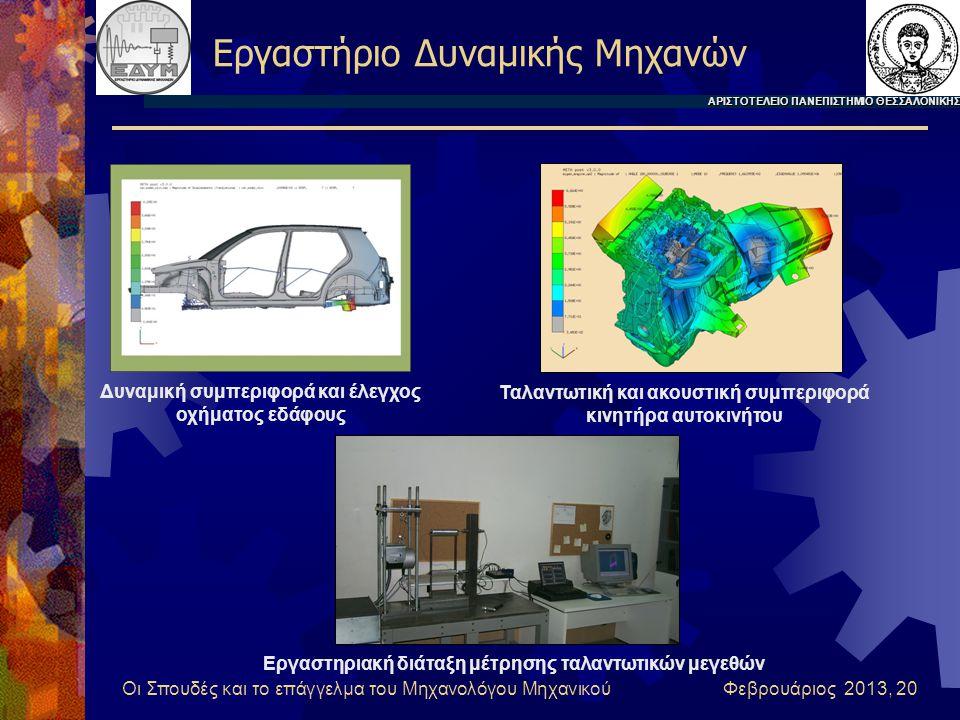 Οι Σπουδές και το επάγγελμα του Μηχανολόγου Μηχανικού Φεβρουάριος 2013, 20 Εργαστήριο Δυναμικής Μηχανών ΑΡΙΣΤΟΤΕΛΕΙΟ ΠΑΝΕΠΙΣΤΗΜΙΟ ΘΕΣΣΑΛΟΝΙΚΗΣ Δυναμική συμπεριφορά και έλεγχος οχήματος εδάφους Ταλαντωτική και ακουστική συμπεριφορά κινητήρα αυτοκινήτου Εργαστηριακή διάταξη μέτρησης ταλαντωτικών μεγεθών