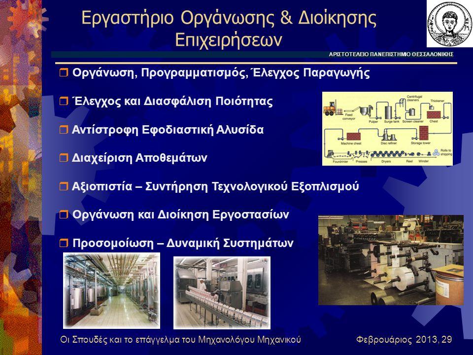 Οι Σπουδές και το επάγγελμα του Μηχανολόγου Μηχανικού Φεβρουάριος 2013, 29 Εργαστήριο Οργάνωσης & Διοίκησης Επιχειρήσεων ΑΡΙΣΤΟΤΕΛΕΙΟ ΠΑΝΕΠΙΣΤΗΜΙΟ ΘΕΣΣΑΛΟΝΙΚΗΣ  Οργάνωση, Προγραμματισμός, Έλεγχος Παραγωγής  Έλεγχος και Διασφάλιση Ποιότητας  Αντίστροφη Εφοδιαστική Αλυσίδα  Διαχείριση Αποθεμάτων  Αξιοπιστία – Συντήρηση Τεχνολογικού Εξοπλισμού  Οργάνωση και Διοίκηση Εργοστασίων  Προσομοίωση – Δυναμική Συστημάτων