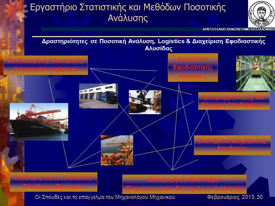 Οι Σπουδές και το επάγγελμα του Μηχανολόγου Μηχανικού Φεβρουάριος 2013, 30 Εργαστήριο Στατιστικής και Μεθόδων Ποσοτικής Ανάλυσης Προγραμματισμός και Έλεγχος Αποθεμάτων Εισαγωγή και Ανάπτυξη Πληροφοριακών Συστημάτων Διοίκησης Συνδυασμένες Μεταφορές (Intermodal Logistics) Υποδομές και Διευκόλυνση Ελεύθερου Εμπορίου Διαχείριση Εφοδιαστικής Αλυσίδας Συστήματα Διαχείρισης Αποθηκών ΑΡΙΣΤΟΤΕΛΕΙΟ ΠΑΝΕΠΙΣΤΗΜΙΟ ΘΕΣΣΑΛΟΝΙΚΗΣ Δραστηριότητες σε Ποσοτική Ανάλυση, Logistics & Διαχείριση Εφοδιαστικής Αλυσίδας