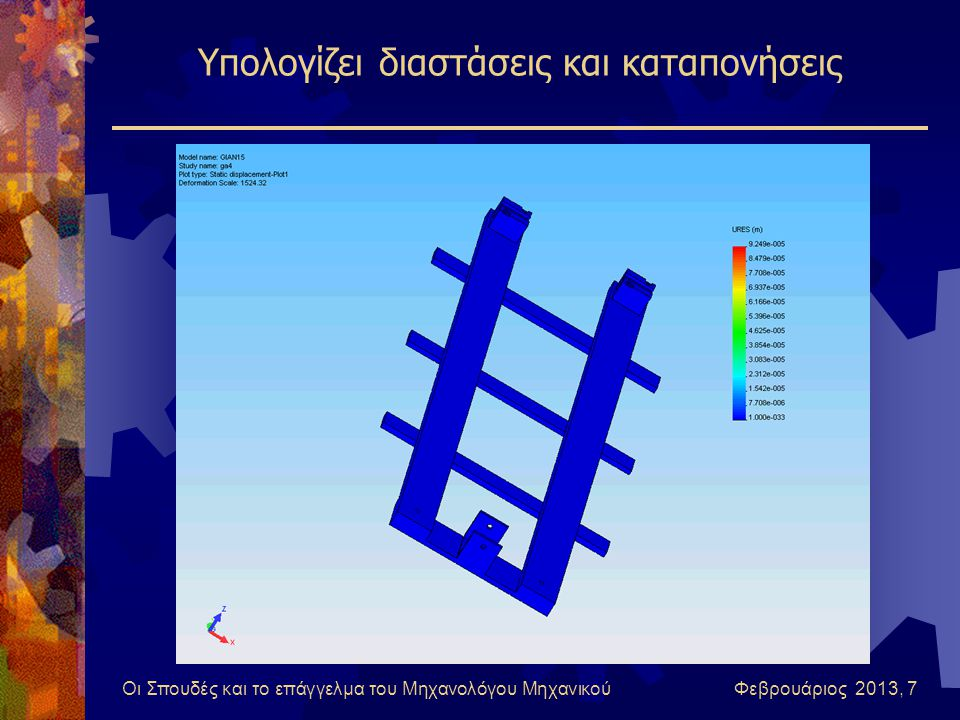 Οι Σπουδές και το επάγγελμα του Μηχανολόγου Μηχανικού Φεβρουάριος 2013, 7 Υπολογίζει διαστάσεις και καταπονήσεις