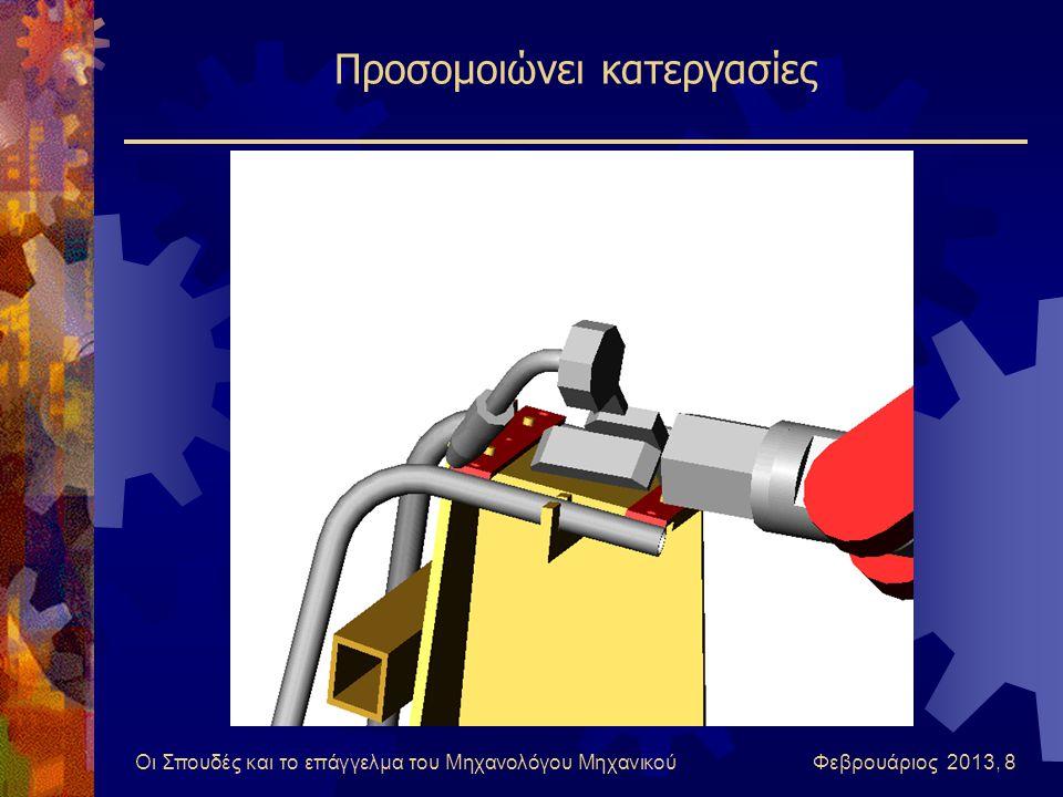 Οι Σπουδές και το επάγγελμα του Μηχανολόγου Μηχανικού Φεβρουάριος 2013, 8 Προσομοιώνει κατεργασίες