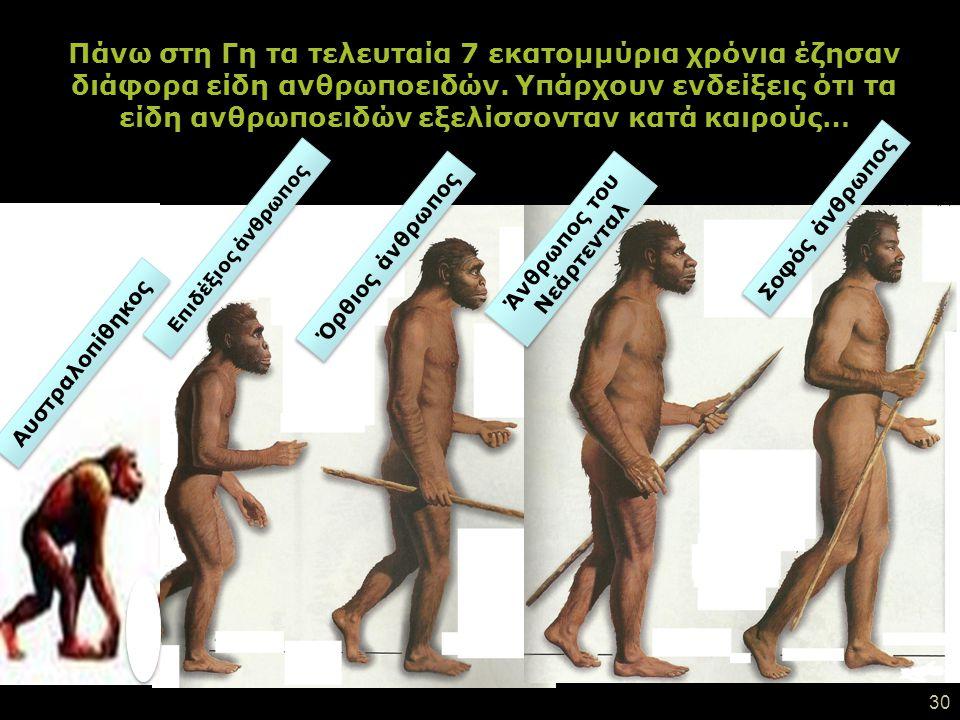 29 … και τελικά φαίνεται ότι μέχρι σήμερα επιβίωσε ένα από αυτά τα είδη: ΣΟΦΟΣ ΑΝΘΡΩΠΟΣ (HOMO SAPIENS) ΕΜΕΙΣ !!!