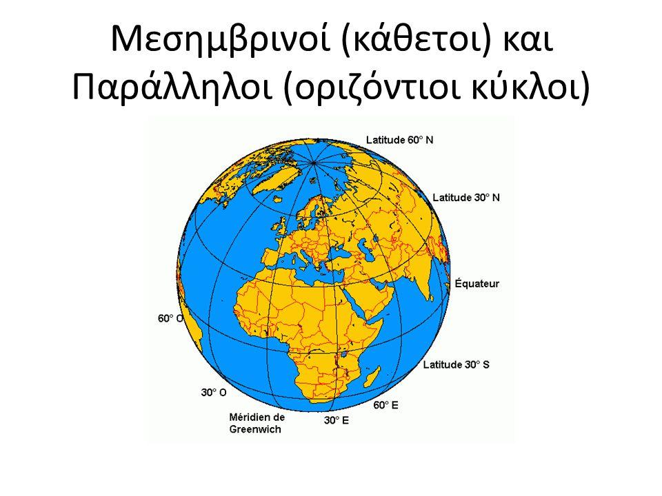 Μεσημβρινοί (κάθετοι) και Παράλληλοι (οριζόντιοι κύκλοι)