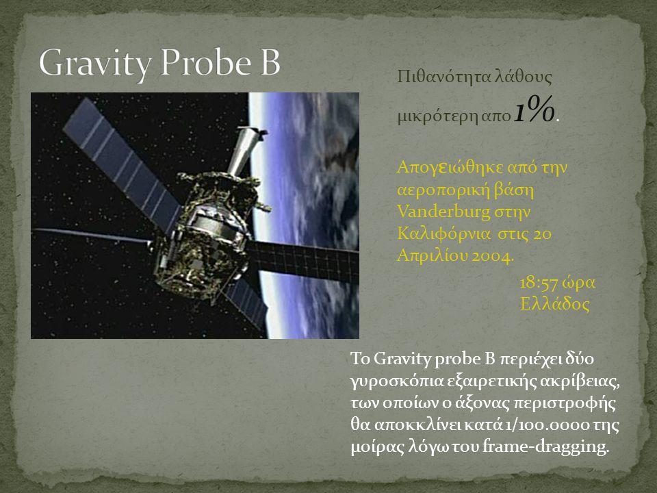Το Gravity probe B περιέχει δύο γυροσκόπια εξαιρετικής ακρίβειας, των οποίων ο άξονας περιστροφής θα αποκκλίνει κατά 1/100.0000 της μοίρας λόγω του fr