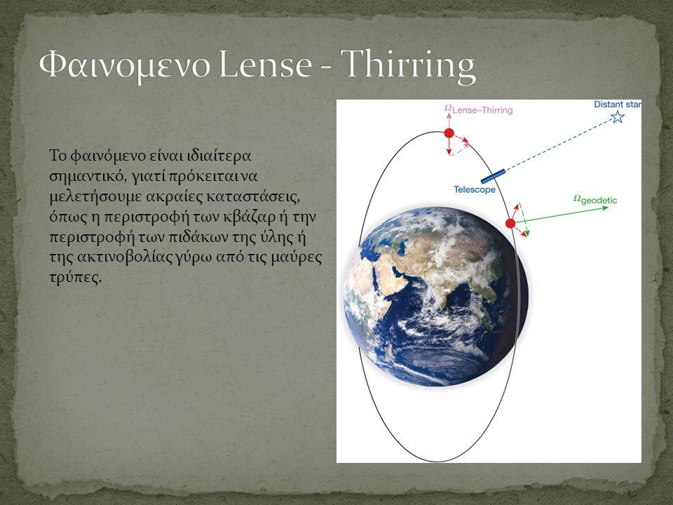 Το Gravity probe B περιέχει δύο γυροσκόπια εξαιρετικής ακρίβειας, των οποίων ο άξονας περιστροφής θα αποκκλίνει κατά 1/100.0000 της μοίρας λόγω του frame-dragging.