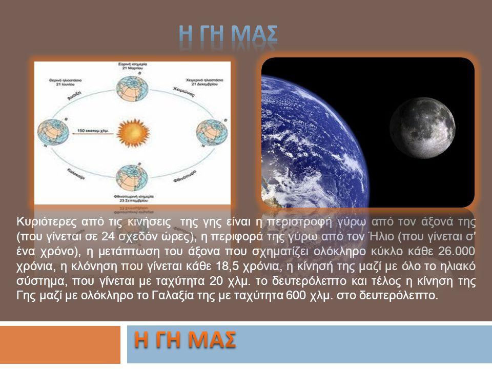 Κυριότερες από τις κινήσεις της γης είναι η περιστροφή γύρω από τον άξονά της (που γίνεται σε 24 σχεδόν ώρες), η περιφορά της γύρω από τον Ήλιο (που γ