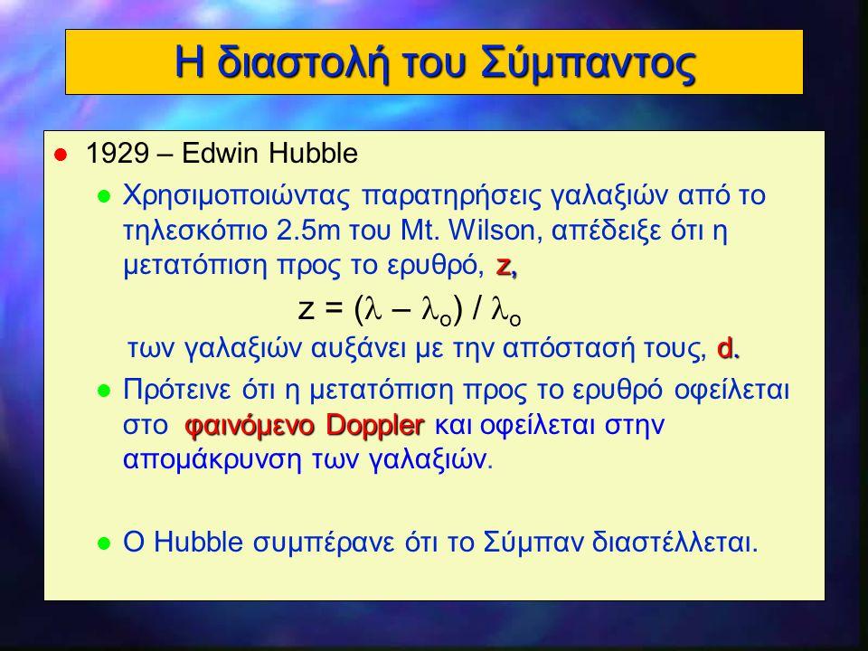 9 Η μετατόπιση προς το ερυθρό = το παρατηρούμενο μήκος κύματος ο = το μήκος κύματος ηρεμίας