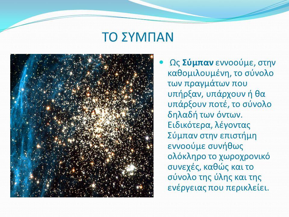 Ως Σύμπαν εννοούμε, στην καθομιλουμένη, το σύνολο των πραγμάτων που υπήρξαν, υπάρχουν ή θα υπάρξουν ποτέ, το σύνολο δηλαδή των όντων. Ειδικότερα, λέγο