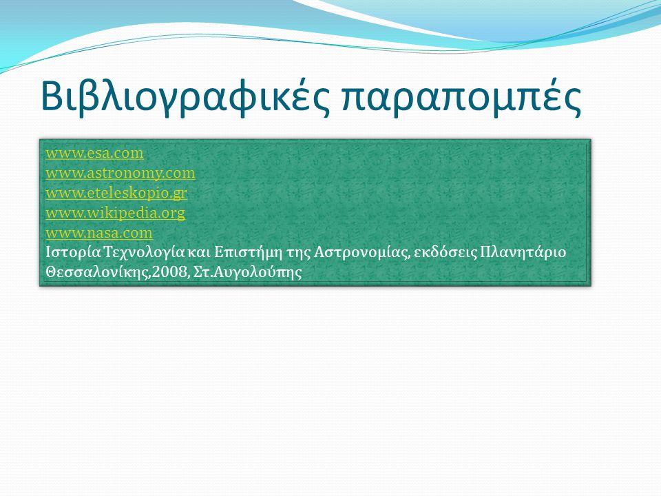 Βιβλιογραφικές παραπομπές www.esa.com www.astronomy.com www.eteleskopio.gr www.wikipedia.org www.nasa.com Ιστορία Τεχνολογία και Επιστήμη της Αστρονομ