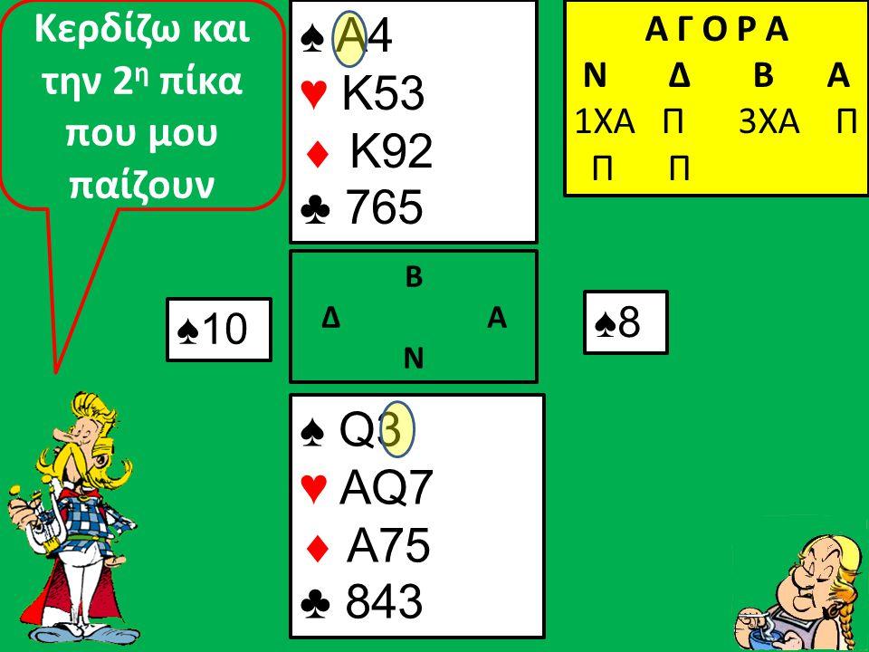 Β Δ Α Ν Και παίζω αμέσως σπαθί ♠ A4 ♥ K53  K92 ♣ 9765 ♠ Q3 ♥ AQ7  A75 ♣ 8432 Α Γ Ο Ρ Α N Δ Β Α 1ΧΑ Π 3ΧΑ Π Π Π ♣10 ♣J Που κερδίζουν οι αντίπαλοι!
