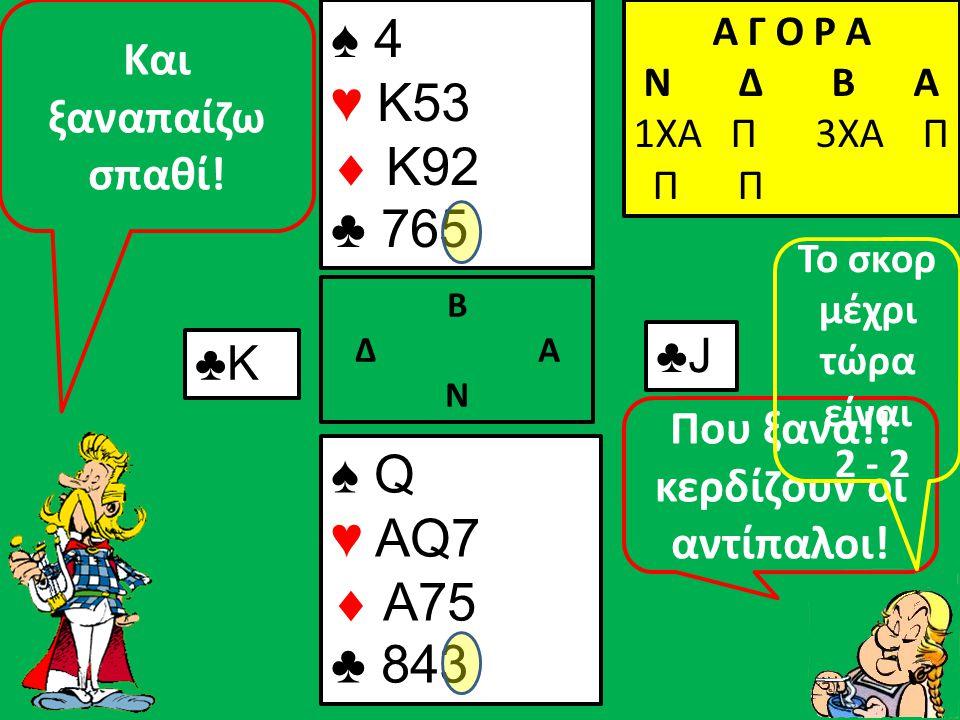 Β Δ Α Ν Κερδίζω και την 2 η πίκα που μου παίζουν ♠ A4 ♥ K53  K92 ♣ 765 ♠ Q3 ♥ AQ7  A75 ♣ 843 Α Γ Ο Ρ Α N Δ Β Α 1ΧΑ Π 3ΧΑ Π Π Π ♠10 ♠8♠8