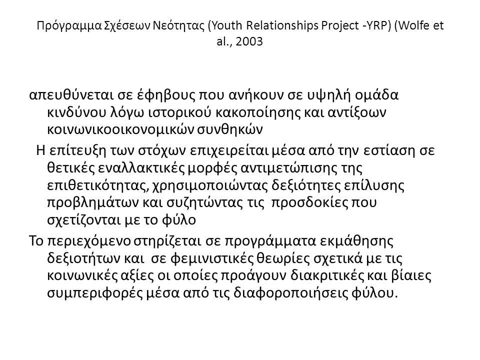 Πρόγραμμα Σχέσεων Νεότητας (Youth Relationships Project -YRP) (Wolfe et al., 2003 απευθύνεται σε έφηβους που ανήκουν σε υψηλή ομάδα κινδύνου λόγω ιστο