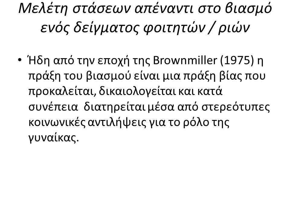 Μελέτη στάσεων απέναντι στο βιασμό ενός δείγματος φοιτητών / ριών Ήδη από την εποχή της Brownmiller (1975) η πράξη του βιασμού είναι μια πράξη βίας πο