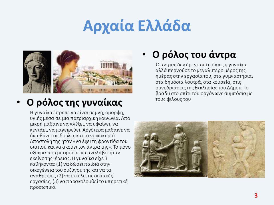 Αρχαία Ελλάδα Ο ρόλος της γυναίκας Η γυναίκα έπρεπε να είναι σεμνή, όμορφη, υγιής μέσα σε μια πατριαρχική κοινωνία. Από μικρή μάθαινε να πλέξει, να υφ