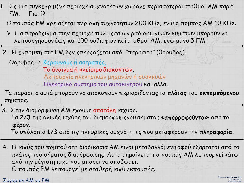 Σύγκριση ΑΜ vs FM Όνομα : Λεκάκης Κωνσταντίνος Καθ. Τεχνολογίας 29/3/2009 11:59 1.Σε μία συγκεκριμένη περιοχή συχνοτήτων χωράνε περισσότεροι σταθμοί Α