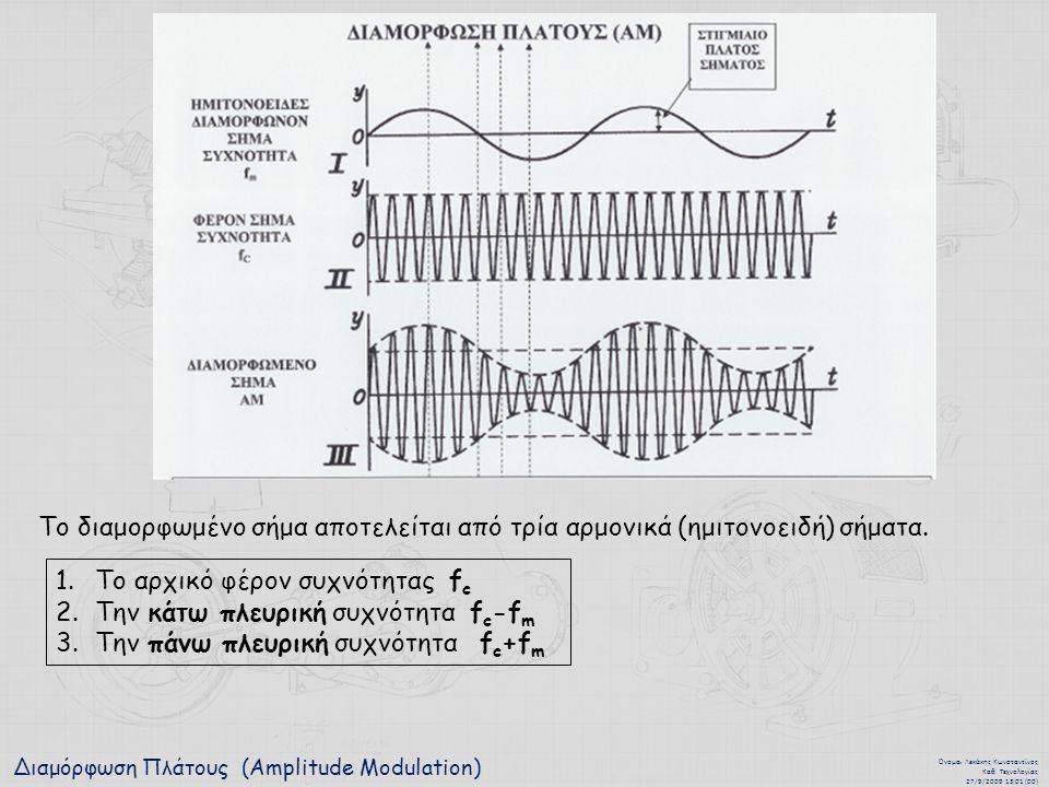Διαμόρφωση Πλάτους (Amplitude Modulation) Όνομα : Λεκάκης Κωνσταντίνος Καθ. Τεχνολογίας 27/9/2009 13:01 (00) Το διαμορφωμένο σήμα αποτελείται από τρία