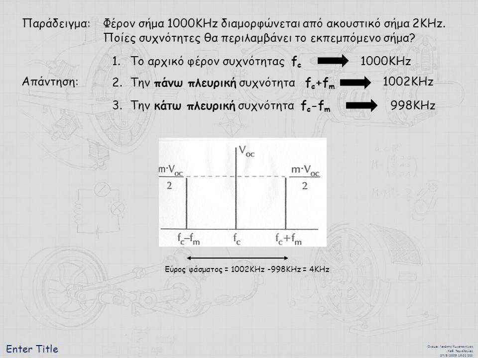Enter Title Όνομα : Λεκάκης Κωνσταντίνος Καθ. Τεχνολογίας 27/9/2009 13:01 (00) Παράδειγμα:Φέρον σήμα 1000ΚΗz διαμορφώνεται από ακουστικό σήμα 2KΗz. Πο