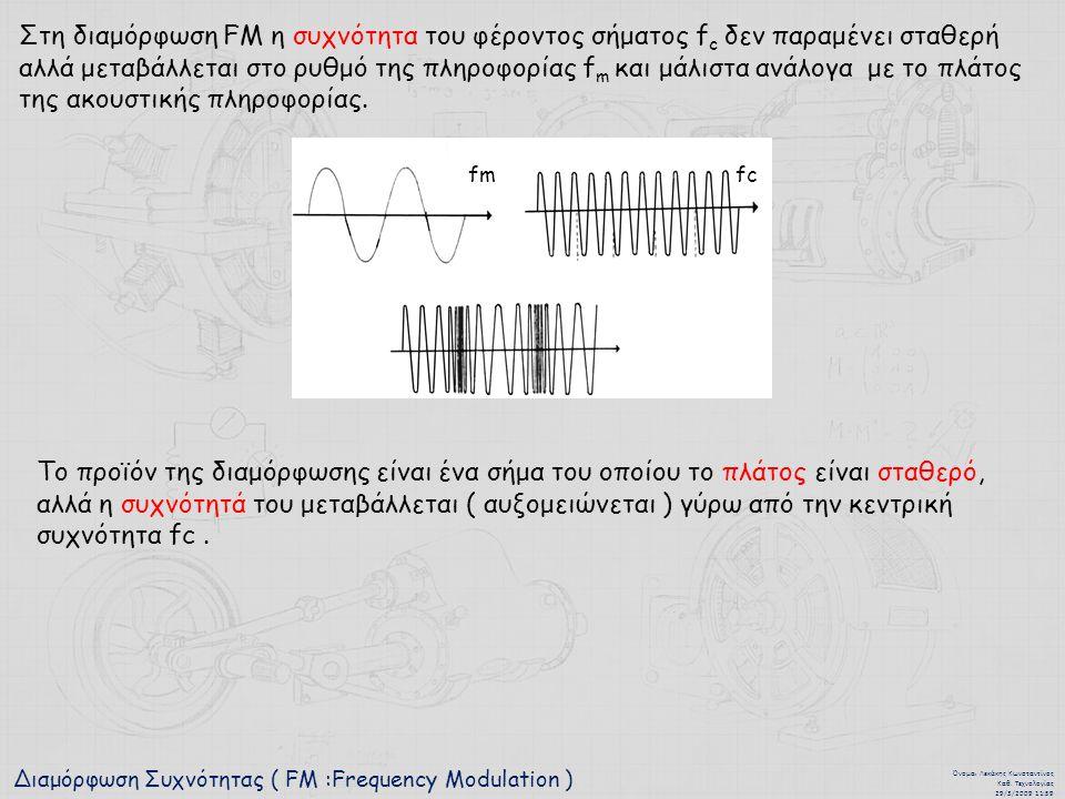 Διαμόρφωση Συχνότητας ( FM :Frequency Modulation ) Όνομα : Λεκάκης Κωνσταντίνος Καθ. Τεχνολογίας 29/3/2009 11:59 Στη διαμόρφωση FM η συχνότητα του φέρ