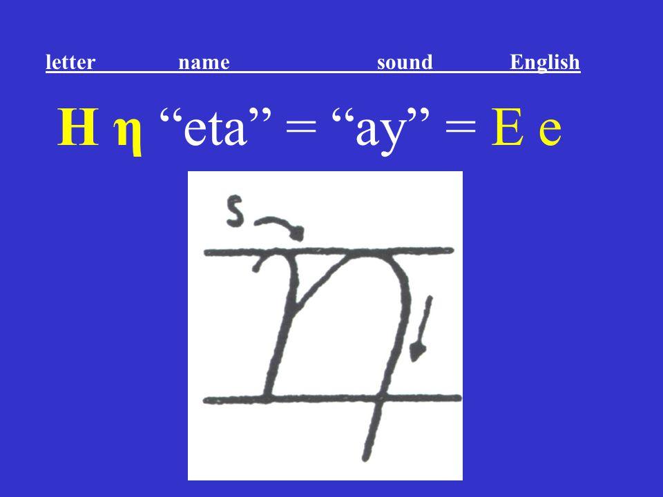 """Η η """"eta"""" = """"ay"""" = E e letter name sound English"""