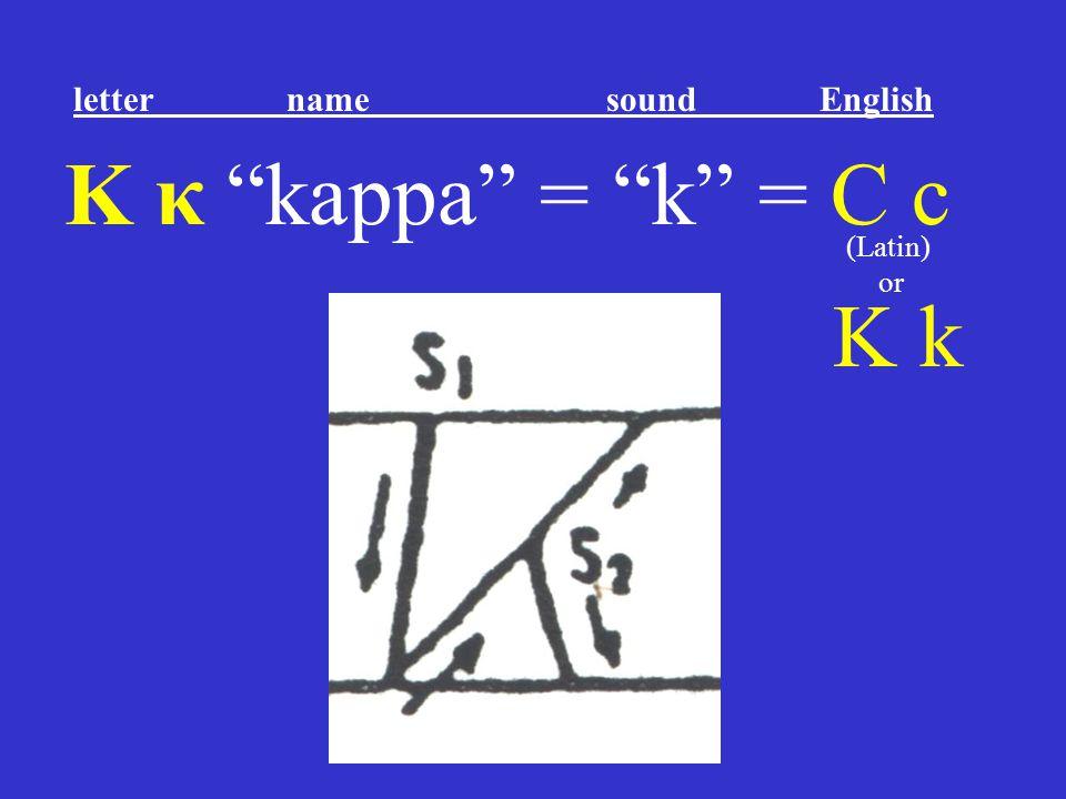 """Κ κ """"kappa"""" = """"k"""" = C c K k letter name sound English (Latin) or"""