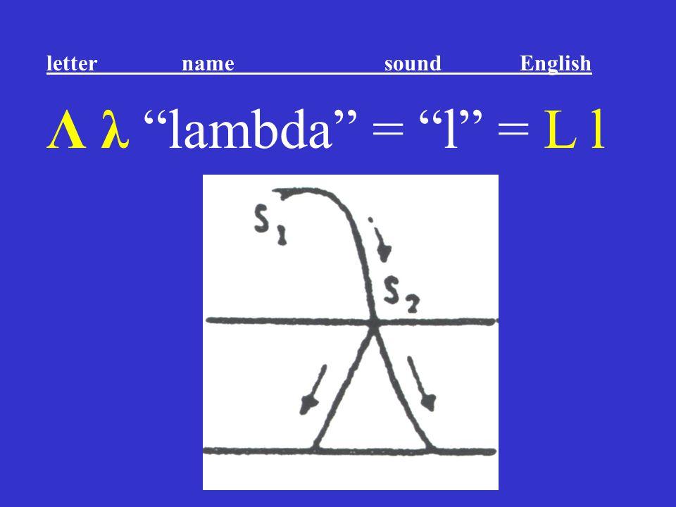"""Λ λ """"lambda"""" = """"l"""" = L l letter name sound English"""