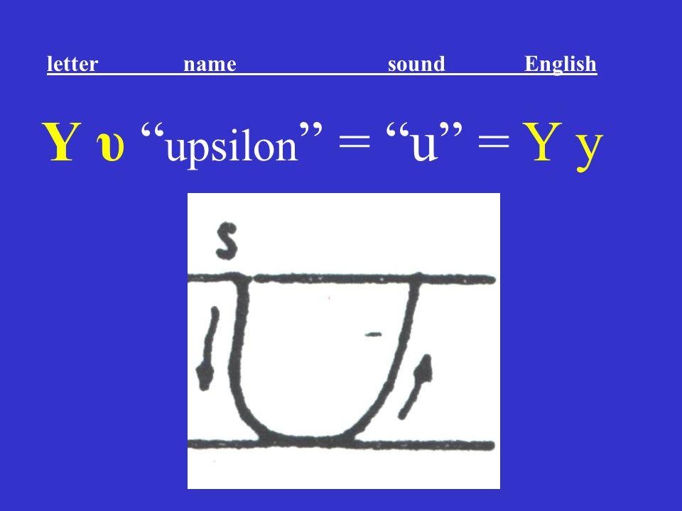 """Υ υ """" upsilon """" = """"u"""" = Y y letter name sound English"""