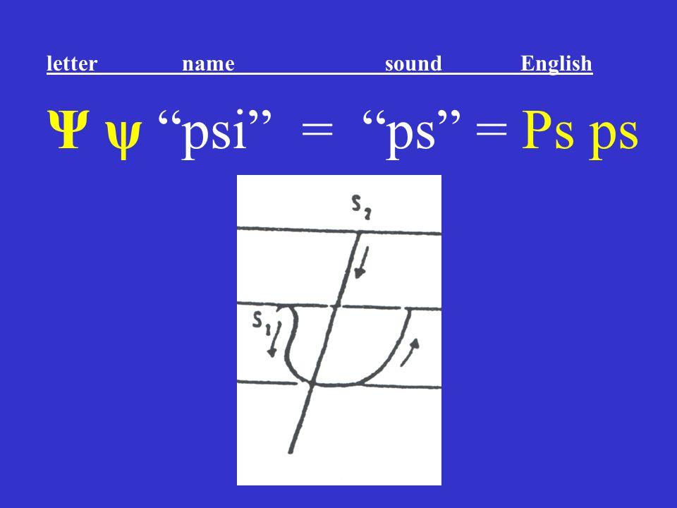 """Ψ ψ """"psi"""" = """"ps"""" = Ps ps letter name sound English"""