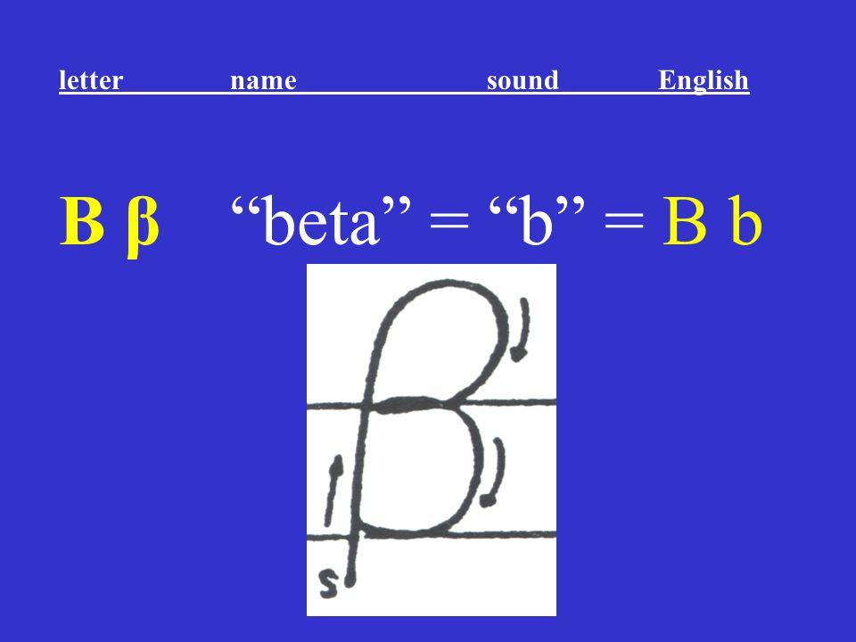 """Β β """"beta"""" = """"b"""" = B b letter name sound English"""