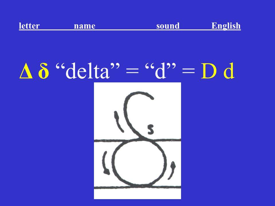 """Δ δ """"delta"""" = """"d"""" = D d letter name sound English"""