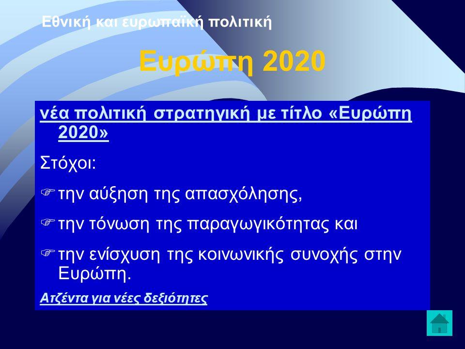 Ευρώπη 2020 νέα πολιτική στρατηγική με τίτλο «Ευρώπη 2020» Στόχοι:  την αύξηση της απασχόλησης,  την τόνωση της παραγωγικότητας και  την ενίσχυση τ