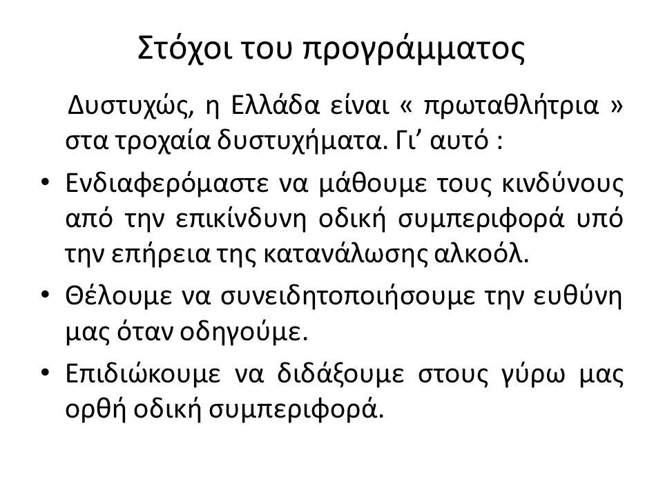 Στόχοι του προγράμματος Δυστυχώς, η Ελλάδα είναι « πρωταθλήτρια » στα τροχαία δυστυχήματα. Γι' αυτό : Ενδιαφερόμαστε να μάθουμε τους κινδύνους από την