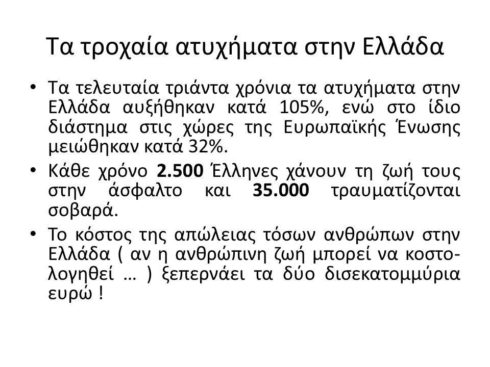 Τα τροχαία ατυχήματα στην Ελλάδα Τα τελευταία τριάντα χρόνια τα ατυχήματα στην Ελλάδα αυξήθηκαν κατά 105%, ενώ στο ίδιο διάστημα στις χώρες της Ευρωπαϊκής Ένωσης μειώθηκαν κατά 32%.