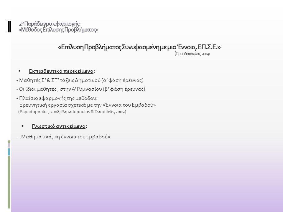 2 ο Παράδειγμα εφαρμογής: «Μέθοδος Επίλυσης Προβλήματος» «Επίλυση Προβλήματος Συνυφασμένη με μια Έννοια, ΕΠ.Σ.Ε.» ( Παπαδόπουλος, 2009)  Εκπαιδευτικό